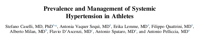 Prevalence and Management of Systemic Hypertension in Athletes