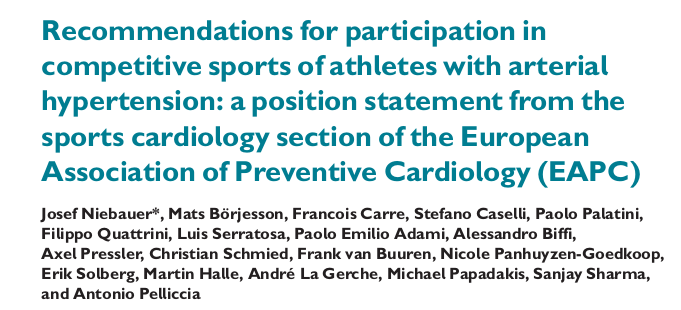Recommendations for participation in competitive sports of athletes with arterial hypertension: a position statement from the sports cardiology section of the European Association of Preventive Cardiology (EAPC)
