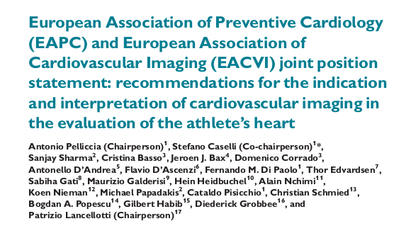 European Association of Preventive Cardiology (EAPC) and European Association of Cardiovascular Imaging (EACVI) joint position statement: recommendations for the indication and interpretation of cardiovascular imaging in the evaluation of the athlete's he